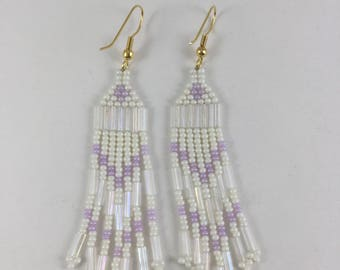 Light Lilac  and Cream Native American Style Beaded Earrings