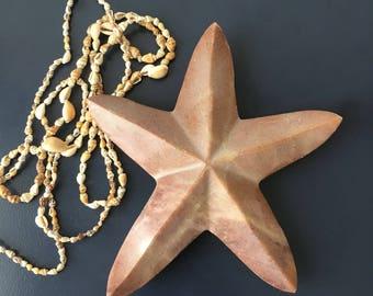 vintage pink marble starfish paperweight