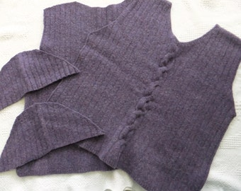 Felted Lambswool Blend Sweater Remnants Purple Recycled Wool Fabric Material