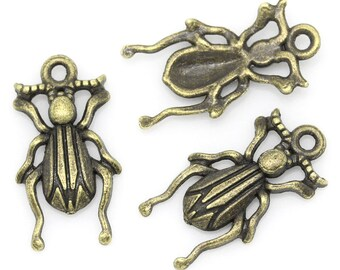 10 Insect Charms Bronze Tone Metal beetle bug (S250-cnt)