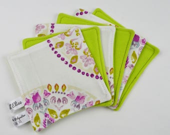 6 wipes washable baby cotton rosettes and green fleece