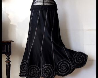 Skirt with rosettes in black taffeta, boho skirt, party skirt, prairie skirt, romantic skirt, goth skirt, black wedding skirt, holiday skirt