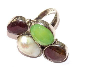 Natural Ruby, Pearl and Chalcedony Ring in .925 Sterling Silver