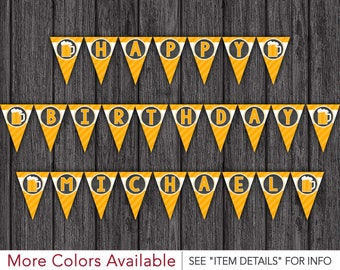 Cheers and Beers Birthday Banner   Personalized Happy Birthday Banner