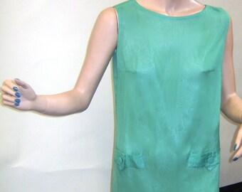 1960s Apple Green Chiffon Mini Dress