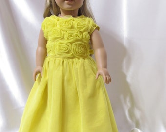 Long sleeveless party dress in bright yellow for 18 inch dolls