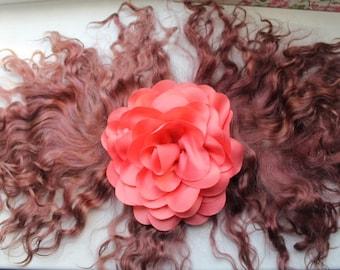 Doll hair natural red-purple goatskin angora mohair locks perfect doll hair handdyed
