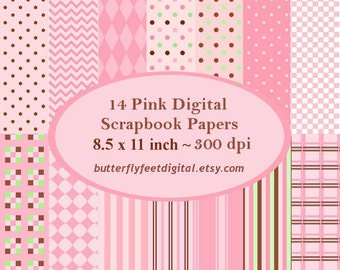 Pink Digital Paper, 14 Printable Scrapbook Papers, Scrapbooking, Card Making, Letter Size 8.5x11, Instant Download