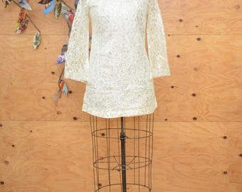 Vintage 60's Silver Floral Lace MOD Bell Sleeve Glam Hourglass Mini Dress SZ S