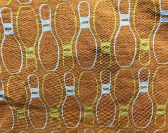 Half Yard Cotton Asbury designed by Thomas Knauer for Andover Fabrics Orange and Yellow Bowling Pins