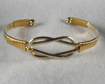 Sailors Knot Cuff bracelet - wire wrapped in Sterling Silver and 14K gold filled.