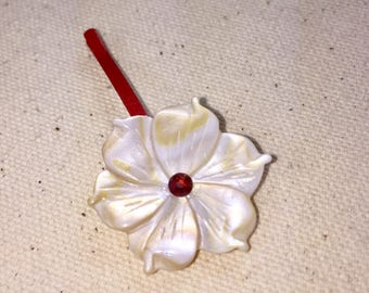 Mother of Pearl Plumeria Hair Pin in Cream and Red