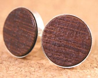Cufflinks for wine lovers - French Wine Barrel Oak Wood in Thin Silver Bezel