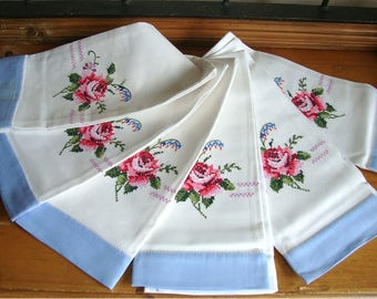 Vintage Embroidered Hand Towel Roses NOS Unused Beautiful!