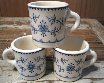 Three Blue & Ivory Floral Viking Restaurant Ware Mugs