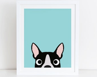 Boston Terrier Art Print, Instant Download, Printable Dog, Digital Art Print, Boston Terrier Print, Boston Terrier Decor, Dog Wall Art
