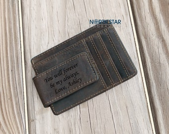 Leather Money clip, Husband gift, Mens Leather Money Clip wallet, Boyfriend gift, Personalized Money clip, Gifts for Dad, Anniversary gift