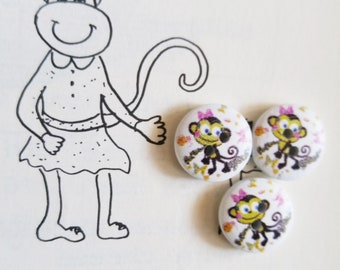 10 monkey buttons wooden monkey buttons 2 hole round buttons