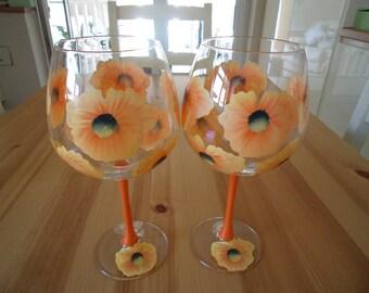 Set of Two Extra Large Orange Poppy Wine Glasses