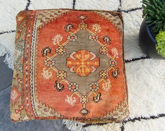 Vintage Anatolian Pouf Wool Pile Footrest Pillowcase Ottoman Floor Pillow Floor Cushion Rug Pouffe Dog Bed