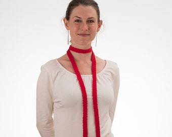 Long Thin Scarf, Skinny Scarf, CHERRY RED, Silk and Bamboo - 187/188