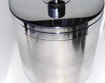 Vintage Silver Tone Metal Insulated Ice Bucket