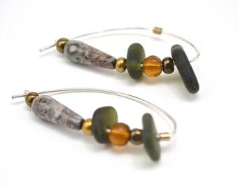 PEI Olive green sea glass earrings