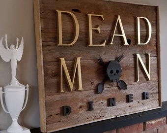 Rustic Sign  |  Wall Art Home Decor  |  DEAD MAN DINER Sign  |  Retro Kitchen Restaurant Diner  |  Upcycled