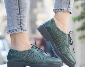 Green Leather Shoes, Leather Oxfords, Leather Brouges , Winter Shoes, Flat Shoes, Flats, Free Shipping