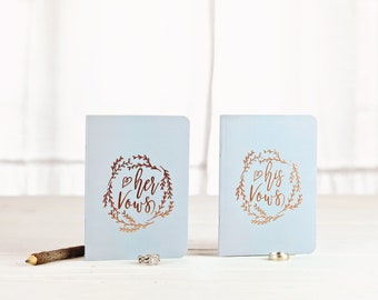 Wedding Vow Books, Something Blue, Vow Book Set, Rose Gold Vow Booklets, Gifts for the Couple, Monogram Wedding Gift, Personalized Vow Books