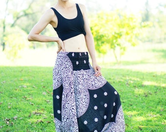 Black Harem Pants Thai Pants, Rayon Pants, Boho Strenchy Pants, Elastic Waist Clothing Beach Women Baggy Casual NP52889