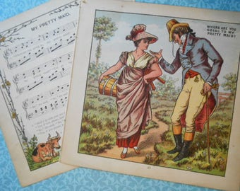 1877 Where Are You Going to my Pretty Maid Lithograph Victorian Print Walter Crane