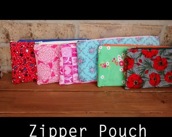 9x4 zipper pouch, cosmetic case, make up bag, pencil bag, gift under 25