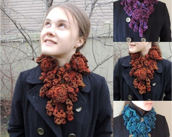 Rose Scarves in orange, teal blue and purple, Made to order, Rose Onie Scarf, handmade scarf, woman's scarf, hand painted merino wool,