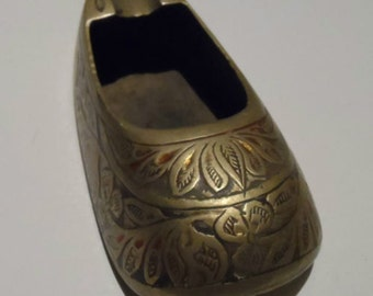 "Vintage Brass with Colour Ashtray Shoe Ornament 3.5"" Made in India"