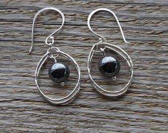 Silver Hoops, Hematite Earrings, Hand Forged, Dangle Earrings, Gift for Her, Unique Earrings, Hammered Silver Earrings, Hoop Earrings