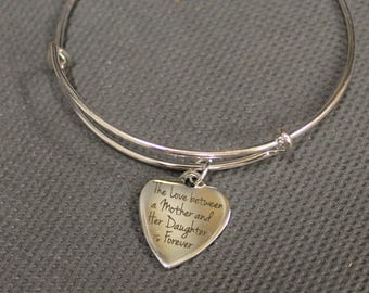 The Love Between A Mother And Her Daughter Is Forever Expanding Bangle Bracelet, New Mom Gift, Gift for Mom, Gift for Daughter