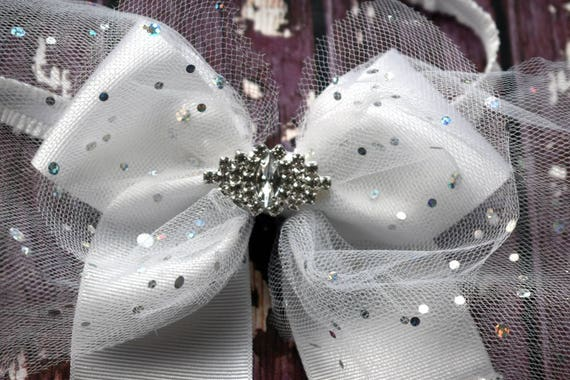 White and silver tulle long tail bow with sparkly tips - Baby / Toddler / Girls / Kids Headband / Hairband / Hair bow / Barrette / Hairclip