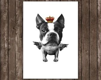Boston Terrier Crown Wings - Mixed Media wall art wall decor Wall Hanging French Bulldog Dictionary print Crown Angel