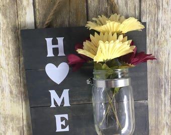 Home Wood Mason Jar Hanging Decor