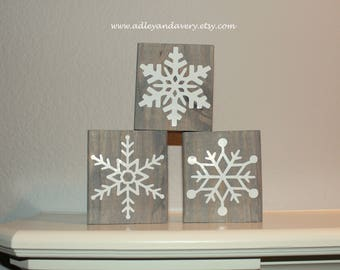 Wooden Snowflakes, Small Wooden Decor, Christmas Decor, Holiday Decor, Snowflake Blocks, Handcrafted Wood