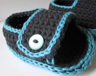 Crochet Baby Cotton Sporty-Casual Baby Sandals - Black and Azure - MADE TO ORDER
