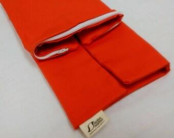 soba sama_hulls case ONLY_14x20_organic cotton_pumpkin orange