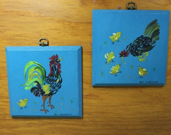 Vintage Pair of Rooster Paintings on Wood Panels