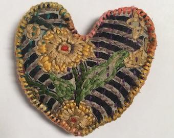 Golden Flowers-embroidered heart lavender sachet/pillow