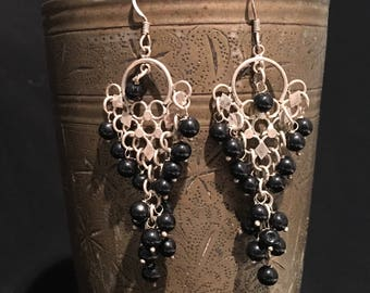 Vintage Black Onyx Earrings...Sterling Silver Earrings...Handmade...Hippie...Boho...Gypsy...Vintage Shop