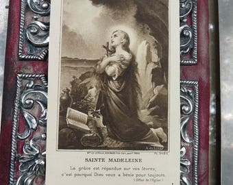 Antique French Mary Magdalene Holy Card, Saint Marie-Madeleine, The Woman with the Alabaster Jar, offered by RusticGypsyCreations