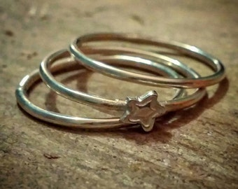 Cute star stacking rings