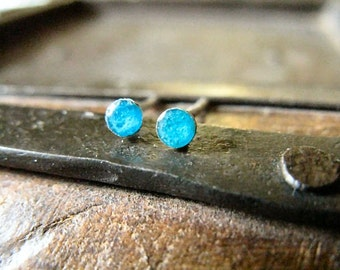 Sterling silver dot post earrings turquoise