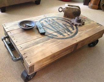 Superbe Industrial Railroad Coffee Table Cart